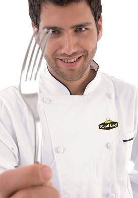 close up of chef holding fork on an isolated white background